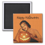 Retro 1950s Pinup Halloween Square Magnet