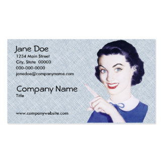 Retro 1950s Pointing Woman V3 Pack Of Standard Business Cards