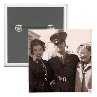 Retro 1950s Snapshot Soldier Family Vintage Photo 15 Cm Square Badge