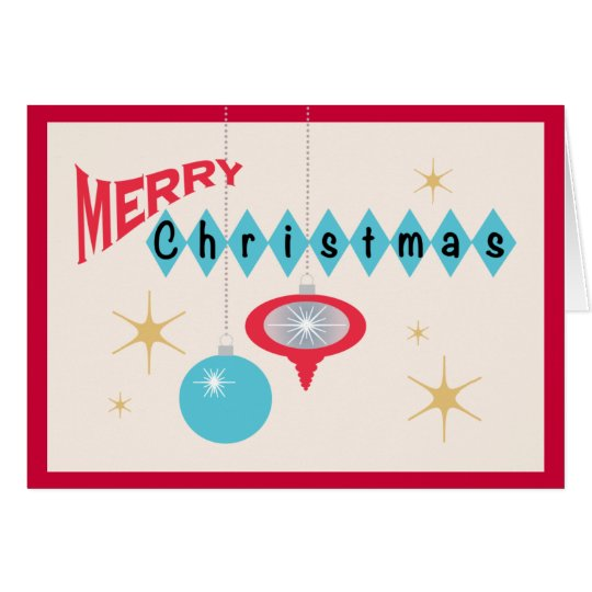 Retro 1950's Style Ornaments Merry Christmas Card