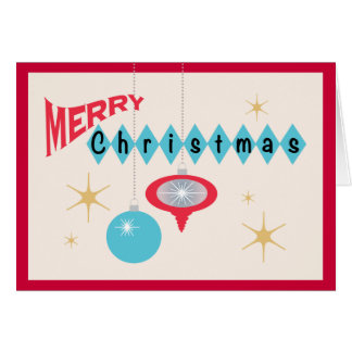 Retro 1950's Style Ornaments Merry Christmas Greeting Card