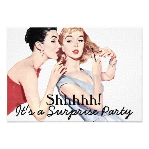 Retro 1950s Surprise Birthday Party V2 Custom Invitation