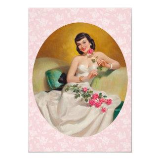 Retro 1950s Valentines Day Dinner 13 Cm X 18 Cm Invitation Card