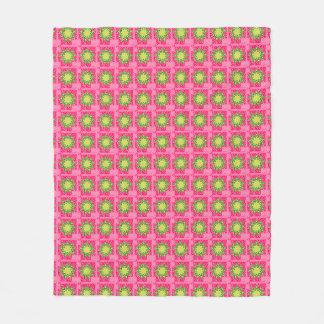 Retro-1950's_Vintage-Floral_Pink-Green-Fabric-Med Fleece Blanket