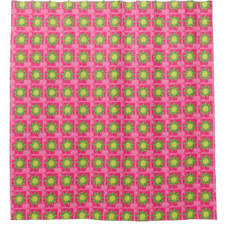 Retro-1950's_Vintage-Floral_Pink-Green-Fabric Shower Curtain