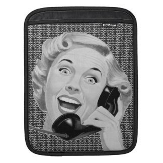 Retro 1950s Woman on Phone Sleeves For iPads