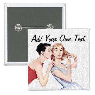 Retro 1950s Women Gossipers 15 Cm Square Badge