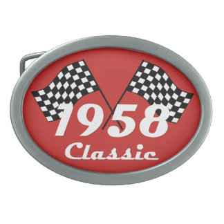 Retro 1958 Classic Black & White Checked Race Flag Oval Belt Buckle