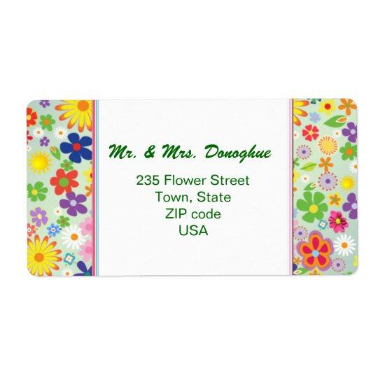 Retro 1960-x style Flower Power address Label