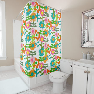 Retro 1960's Flowers Shower Curtain