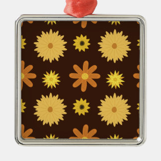 Retro 1970s Brown Orange Yellow Floral Pattern Christmas Ornament