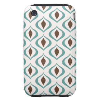 Retro 1970's Geometric Pattern in Brown and Green iPhone 3 Tough Covers