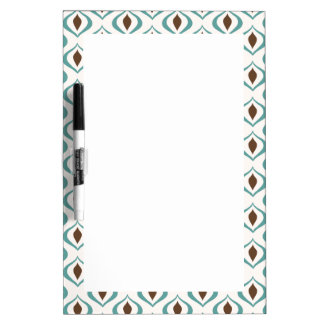 Retro 1970's Geometric Pattern in Brown and Green Dry Erase Board