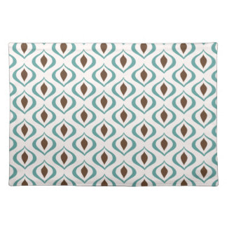 Retro 1970's Geometric Pattern in Brown and Green Placemat