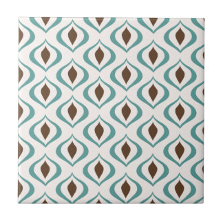 Retro 1970's Geometric Pattern in Brown and Green Tile