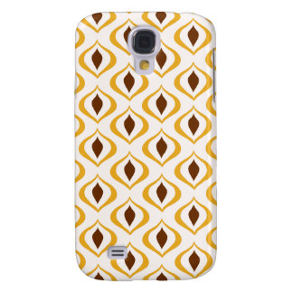 Retro 1970's Geometric Pattern in Brown and Yellow Galaxy S4 Case