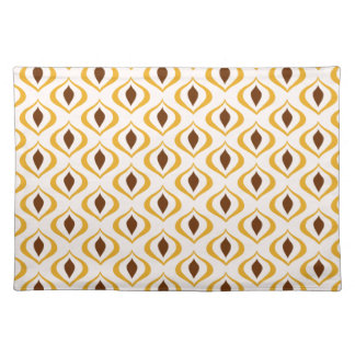 Retro 1970's Geometric Pattern in Brown and Yellow Placemat