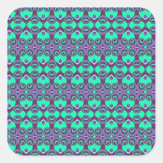 Retro 1970s kaleidoscope funny faces stickers
