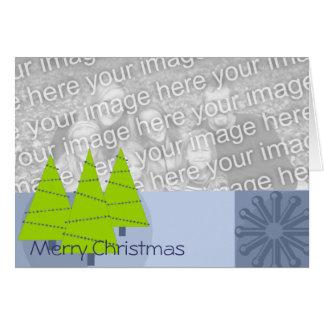 Retro 3 Trees & Ornament -Merry Christmas Greeting Card