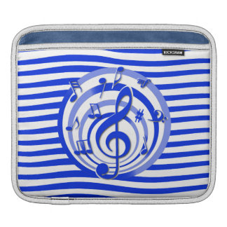 Retro 3D Effect Blue Musical Notes iPad Sleeves