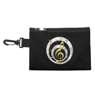 Retro 3D Effect Gold and Silver Musical Notes Accessories Bag