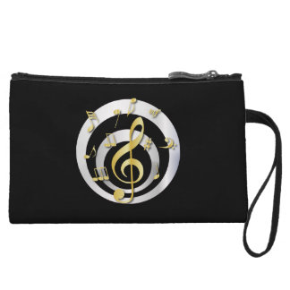 Retro 3D Effect Gold and Silver Musical Notes Wristlet