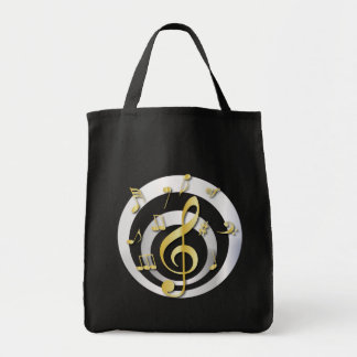 Retro 3D Effect Gold and Silver Musical Notes Bags