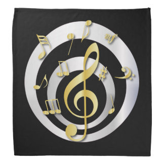 Retro 3D Effect Gold and Silver Musical Notes Bandana