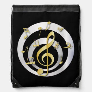 Retro 3D Effect Gold and Silver Musical Notes Drawstring Bag