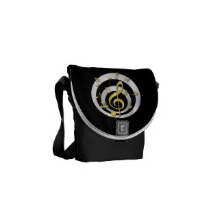 Retro 3D Effect Gold and Silver Musical Notes Messenger Bag