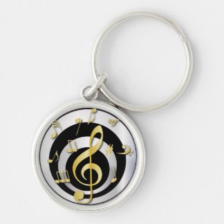 Retro 3D Effect Gold and Silver Musical Notes Silver-Colored Round Key Ring