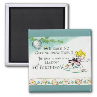 Retro 40th Birthday Square Magnet