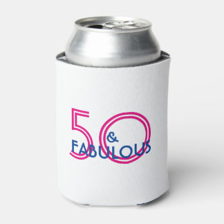 Retro 50 and Fabulous Birthday Gift Can Cooler