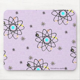 Retro 50s Atomic Print Lavender Apparel & Gifts Mouse Pad