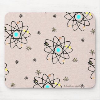 Retro 50s Atomic Print Pink Apparel & Gifts Mouse Pad