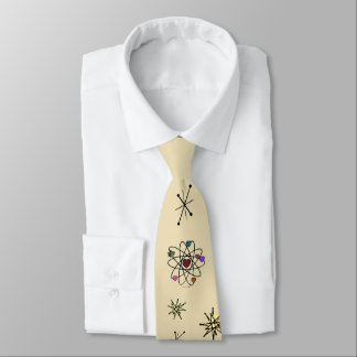 Retro 50s Atomic Valentine Hearts on Butter Cream Tie