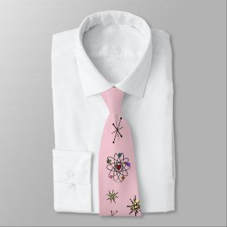 Retro 50s Atomic Valentine Hearts on Pink Tie