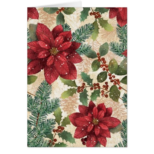 Retro 50s Christmas Poinsettia Greeting Card
