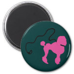 Retro 50's Felt Pink Poodle & Leash Fridge Magnet