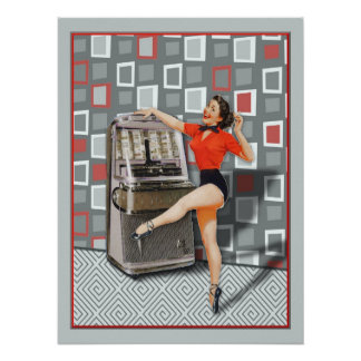 Retro 50s Jukebox Dancing Pinup Girl Poster