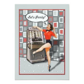 Retro 50s Jukebox Pinup Girl Custom Party Card
