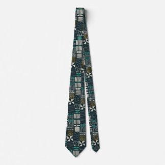 Retro 50s Navy Abstract Geometric Tie