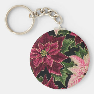 Retro 50s Poinsettia Burgundy Pink Keychains