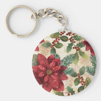 Retro 50s Poinsettia Red Green Cream Basic Round Button Key Ring