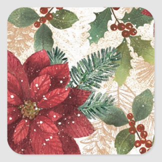 Retro 50s Poinsettia Red Green Cream Square Sticker