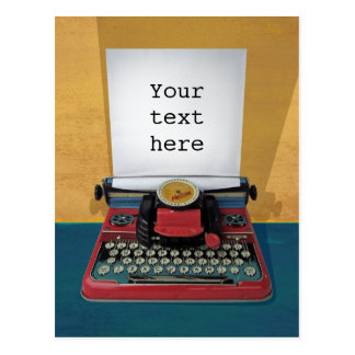 Retro 50s typewriter vintage toy customize text postcard