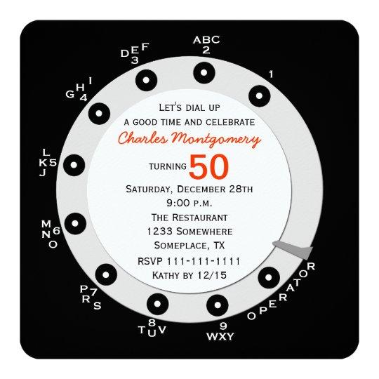 Retro 50th Birthday Party Invitation Rotary Dial