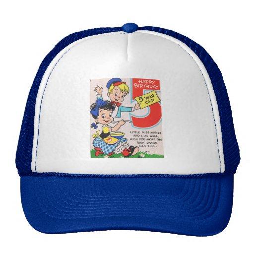 Retro 5th Birthday Card Mesh Hats