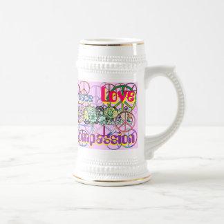 Retro 60 s Peace Signs GalorePeace Love Compassion Mugs