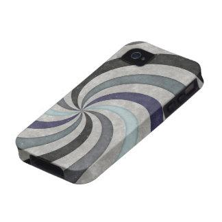 Retro 60's Blue Gray Swirl Pattern iPhone 4 Covers